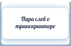 Пара слов о транскрипторе